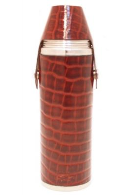 10oz Brown Nile Croc Leather Hunter Flask