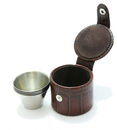 4 Small Stirrup Cups and Brown Nile Croc Effect Leather Case