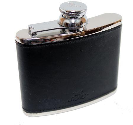 4oz Black Leather Hip Flask