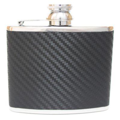 4oz Hip Flask Black Carbon Fibre