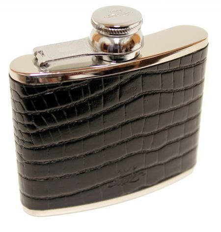 4oz Black Nile Croc Leather Hip Flask