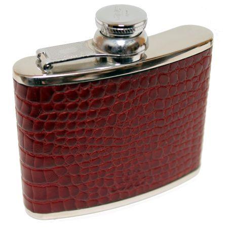 4oz Burgundy Nile Croc Leather Hip Flask