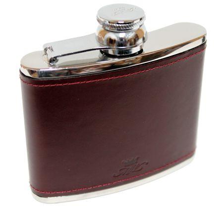 4oz Burgundy Leather Hip Flask