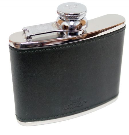 4oz Green Leather Hip Flask