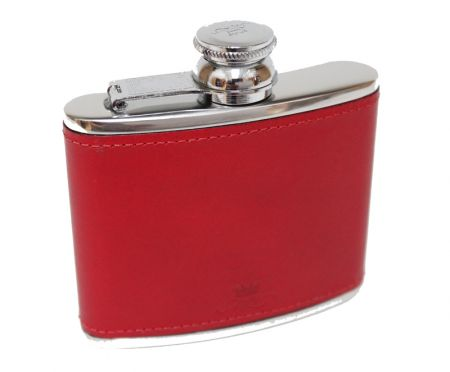 4oz Red Leather Hip Flask