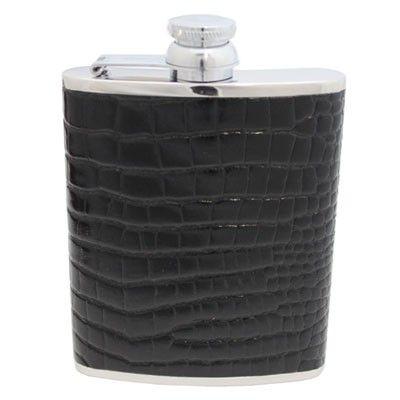 6oz Black Nile Croc Leather Hip Flask