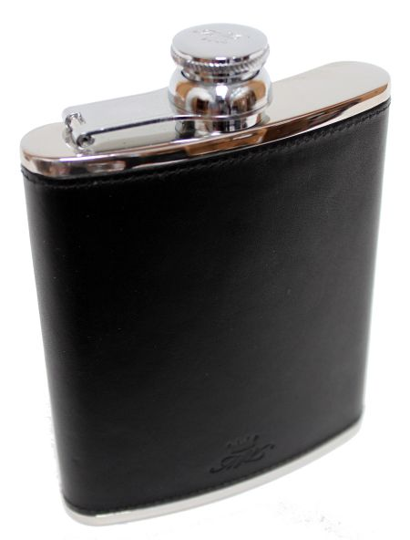 6oz Black Leather Hip Flask