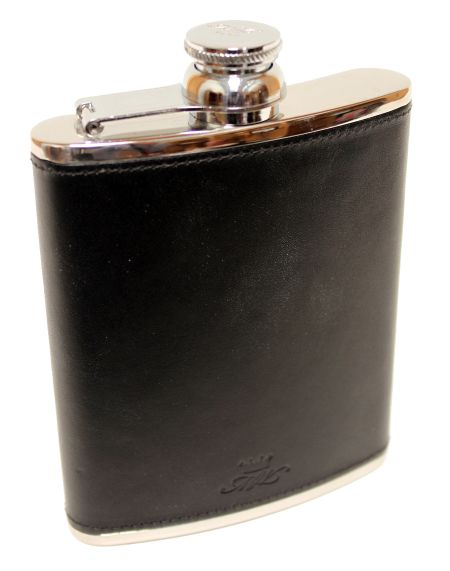 6oz Blue Leather Hip Flask