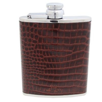 6oz Brown Nile Croc Leather Hip Flask