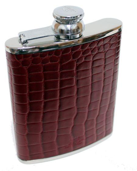 6oz Burgundy Nile Croc Leather Hip Flask