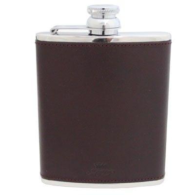 6oz Burgundy Leather Hip Flask