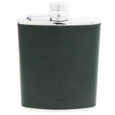 6oz Green Leather Hip Flask