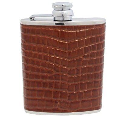 6oz Tan Nile Croc Leather Hip Flask
