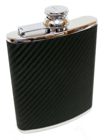 6oz Black Carbon Fibre Hip Flask