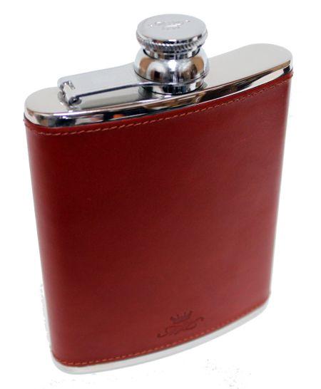 6oz Leather Hip Flask Chestnut