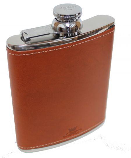 6oz Tan Leather Hip Flask