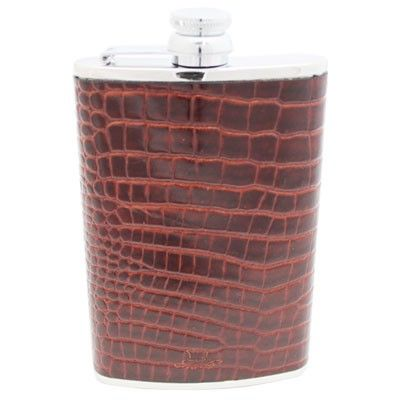8oz Brown Nile Croc Leather Hip Flask