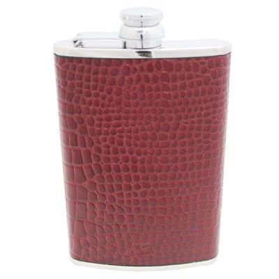 8oz Hip Flask Burgundy Nile Croc