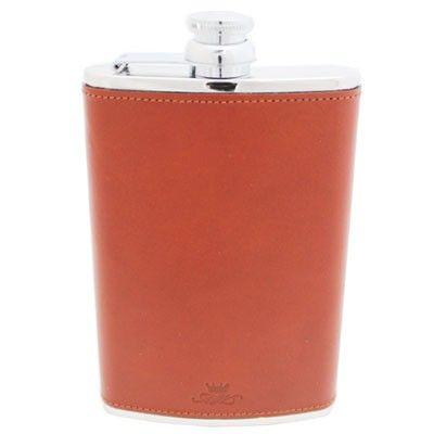 8oz Chestnut Leather Hip Flask