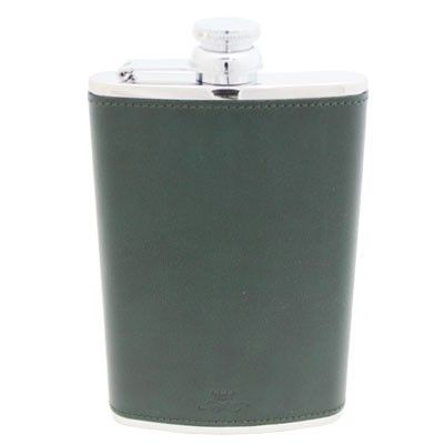 8oz Green Leather Hip Flask