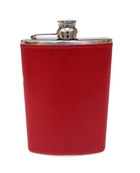8oz Red Leather Hip Flask