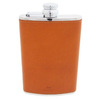8oz Tan Leather Hip Flask