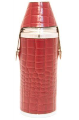 8oz Burgundy Nile Croc Leather Hunter Flask