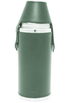 8oz Green Leather Hunter Flask
