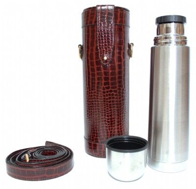 Thermos Flask in Brown Nile Croc Effect Leather with Carry Case