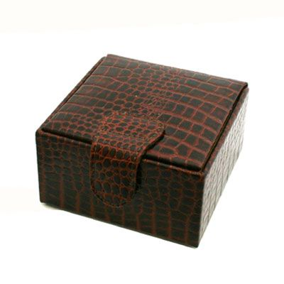 Brown Nile Croc Leather Jewellery Box