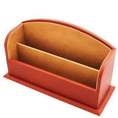 Chestnut Leather Stationery Rack