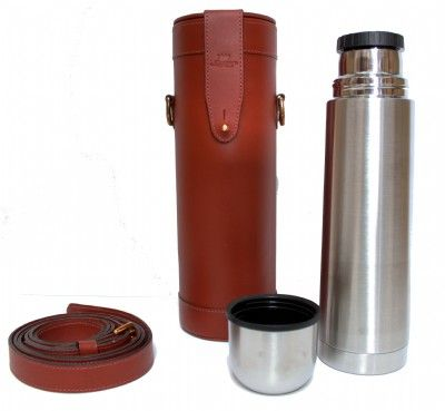 Chestnut Leather Thermos Flask and Carry Case