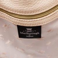 Cream Leather Bucket Bag Silk Lining