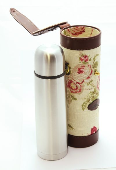 Leather Flask with Rose Pattern and Papaya Leather and Carry Case