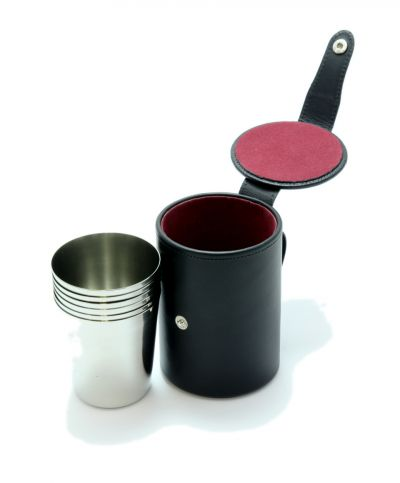 medium black leather stirrup cups