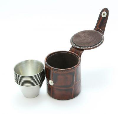 Stirrup Cups in leather case
