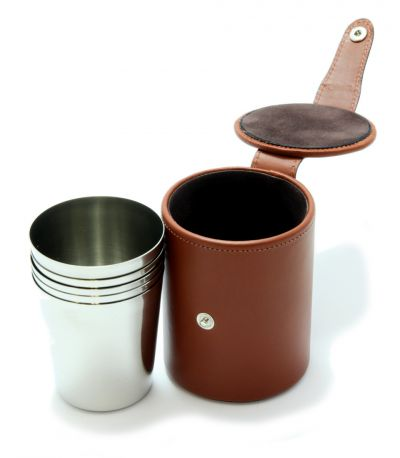 Medium Stirrup Cups Chestnut Leather Case x 6