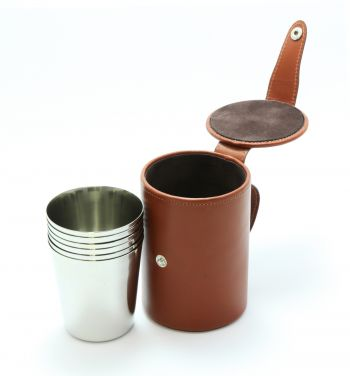 Medium Stirrup Cups Chestnut Leather Case x 4 from Luxury Leather Gifts and Marlborough of England