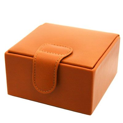Tan Leather Jewellery Box Small