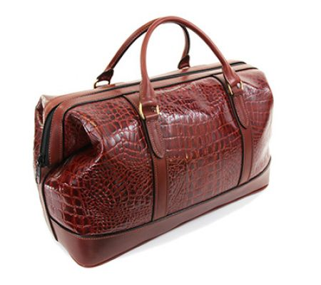 Weekend Bag Brown Leather Amazon Croc