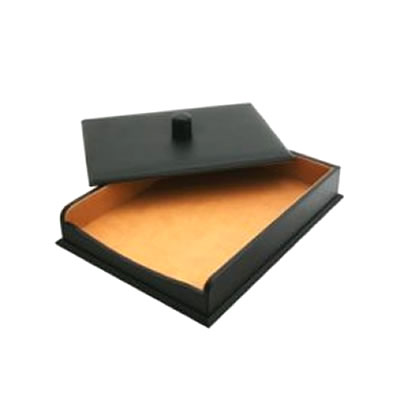 Black Leather Paper Tray