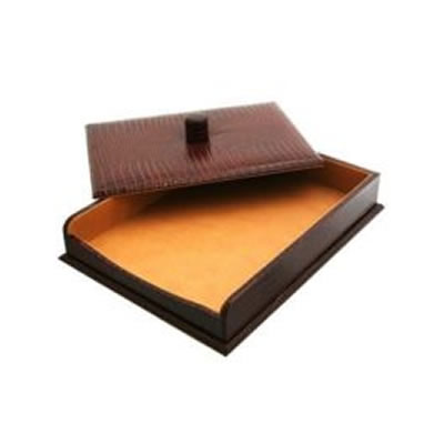 Brown Nile Croc Leather Paper Tray
