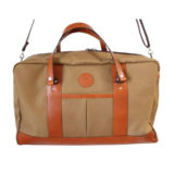Large Tan Canvas and Leather Holdall Bag