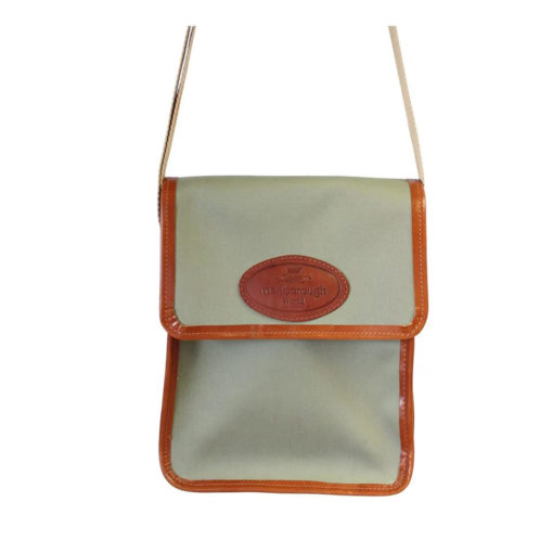 Small Green Canvas and Leather Messenger Bag