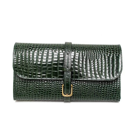 Green Leather Military Wet Pack Green Nile Croc Leather