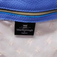 Blue Leather Bucket Bag Silk Lining