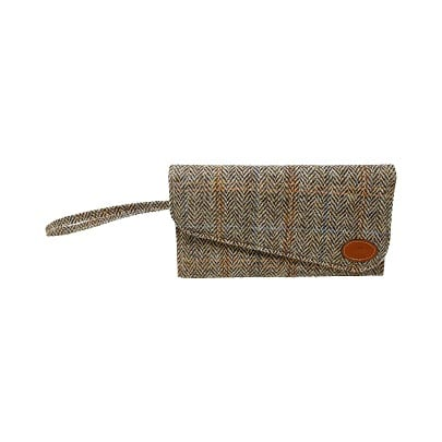 Clutch Bag Tan Harris Tweed