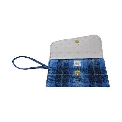 Clutch Bag Blue Harris Tweed Interior
