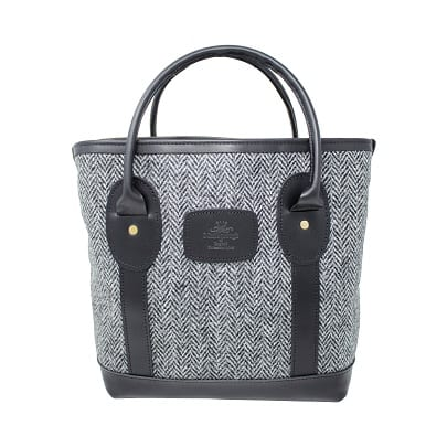 Mini Tote Bag Black and White Harris Tweed & Leather