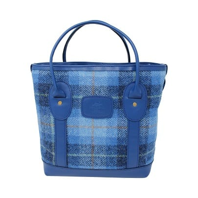 Mini Tote Bag Blue Harris Tweed & Leather